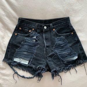 Levi's Vintage Denim Black Ripped Shorts